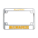 Metal Motorcycle License Plate Frame in Chrome-Milwaukee Wordmark