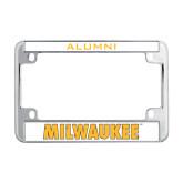 Metal Motorcycle License Plate Frame in Chrome-Milwaukee Wordmark
