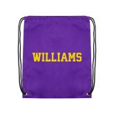 Purple Drawstring Backpack-Primary Mark - Athletics