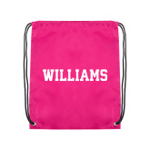 Pink Drawstring Backpack-Primary Mark - Athletics