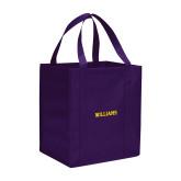 Non Woven Purple Grocery Tote-Primary Mark - Athletics
