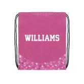 Nylon Pink Bubble Patterned Drawstring Backpack-Primary Mark - Athletics