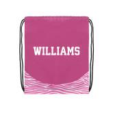Nylon Zebra Pink/White Patterned Drawstring Backpack-Primary Mark - Athletics