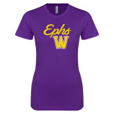 Next Level Ladies SoftStyle Junior Fitted Purple Tee-Ephs w/ W