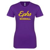 Next Level Ladies SoftStyle Junior Fitted Purple Tee-Ephs Baseball