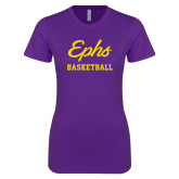 Next Level Ladies SoftStyle Junior Fitted Purple Tee-Ephs Basketball