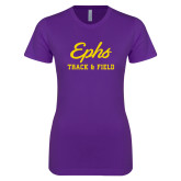 Next Level Ladies SoftStyle Junior Fitted Purple Tee-Ephs Track and Field