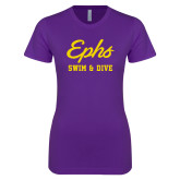 Next Level Ladies SoftStyle Junior Fitted Purple Tee-Ephs Swim and Dive