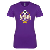 Next Level Ladies SoftStyle Junior Fitted Purple Tee-NCAA DIII National Champions
