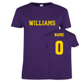 Ladies Purple T Shirt-Primary Mark - Athletics, Personalized Name and #