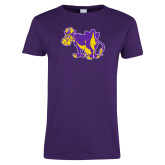 Ladies Purple T Shirt-Mascot