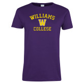 Ladies Purple T Shirt-Williams College w/ W Distressed