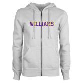 ENZA Ladies White Fleece Full Zip Hoodie-Primary Mark - Athletics