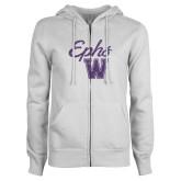ENZA Ladies White Fleece Full Zip Hoodie-Ephs w/ W Purple Glitter
