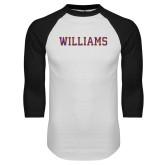 White/Black Raglan Baseball T Shirt-Primary Mark - Athletics