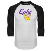 White/Black Raglan Baseball T Shirt-Ephs w/ W