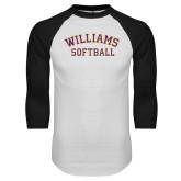 White/Black Raglan Baseball T Shirt-Softball