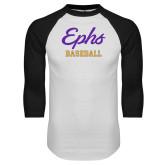 White/Black Raglan Baseball T Shirt-Ephs Baseball