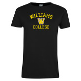 Ladies Black T Shirt-Williams College w/ W Distressed