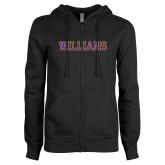 ENZA Ladies Black Fleece Full Zip Hoodie-Primary Mark - Athletics