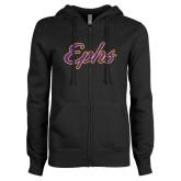 ENZA Ladies Black Fleece Full Zip Hoodie-Ephs