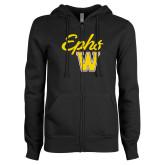 ENZA Ladies Black Fleece Full Zip Hoodie-Ephs w/ W