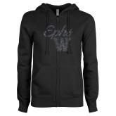 ENZA Ladies Black Fleece Full Zip Hoodie-Ephs w/ W Graphite Soft Glitter