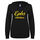 ENZA Ladies Black V Notch Raw Edge Fleece Hoodie-Ephs Football