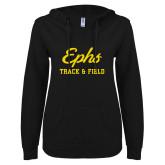 ENZA Ladies Black V Notch Raw Edge Fleece Hoodie-Ephs Track and Field