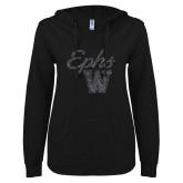 ENZA Ladies Black V Notch Raw Edge Fleece Hoodie-Ephs w/ W Graphite Soft Glitter