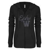 ENZA Ladies Black Light Weight Fleece Full Zip Hoodie-Ephs w/ W Graphite Soft Glitter