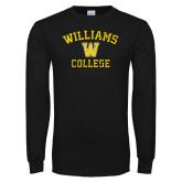 Black Long Sleeve T Shirt-Williams College w/ W Distressed