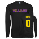 Black Long Sleeve T Shirt-Primary Mark - Athletics, Personalized Name and #