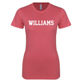 Next Level Ladies SoftStyle Junior Fitted Pink Tee-Primary Mark - Athletics