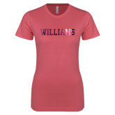 Next Level Ladies SoftStyle Junior Fitted Pink Tee-Primary Mark - Athletics  Foil