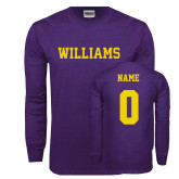 Purple Long Sleeve T Shirt-Primary Mark - Athletics, Personalized Name and #