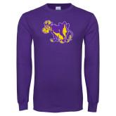Purple Long Sleeve T Shirt-Mascot