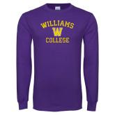 Purple Long Sleeve T Shirt-Williams College w/ W Distressed