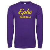 Purple Long Sleeve T Shirt-Ephs Baseball