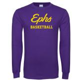 Purple Long Sleeve T Shirt-Ephs Basketball