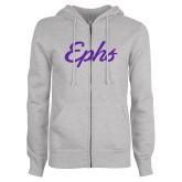 ENZA Ladies Grey Fleece Full Zip Hoodie-Ephs