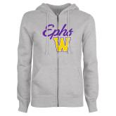 ENZA Ladies Grey Fleece Full Zip Hoodie-Ephs w/ W