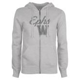 ENZA Ladies Grey Fleece Full Zip Hoodie-Ephs w/ W Silver Soft Glitter