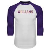 White/Purple Raglan Baseball T Shirt-Primary Mark - Athletics