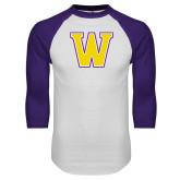 White/Purple Raglan Baseball T Shirt-W