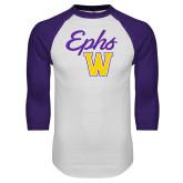 White/Purple Raglan Baseball T Shirt-Ephs w/ W