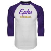 White/Purple Raglan Baseball T Shirt-Ephs Baseball