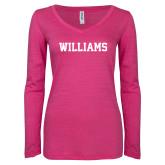 ENZA Ladies Hot Pink Long Sleeve V Neck Tee-Primary Mark - Athletics