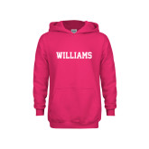 Youth Raspberry Fleece Hoodie-Primary Mark - Athletics
