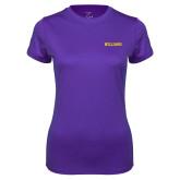 Ladies Syntrel Performance Purple Tee-Primary Mark - Athletics